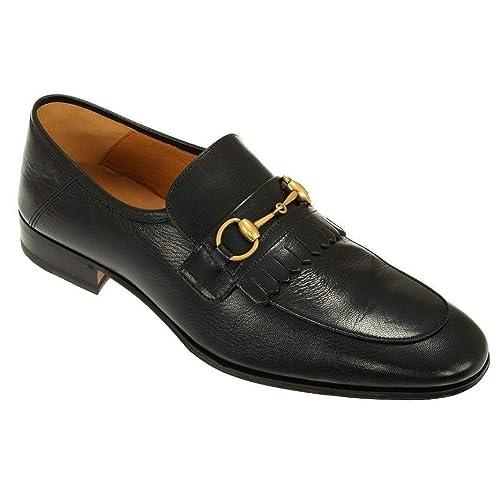 4058efbdbdb Gucci Men s Leather Fringe Horsebit Loafer Dress Shoes Black  Amazon.ca   Shoes   Handbags