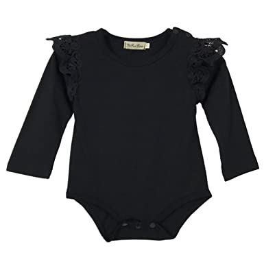Amazon.com: Infant Baby Girls Black Dress Full Sleeves Lace Romper ...