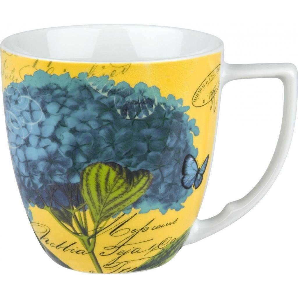 Floral Impressions Blue Hydrangea Mugs (Set of 4) Garden Round Porcelain 4 Piece Dishwasher Safe Microwave