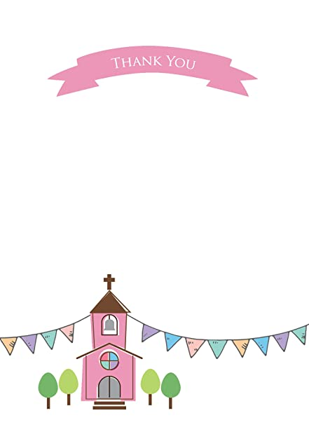 The Card Gallery Thank You Cards Girls Church Bunting Pack Of