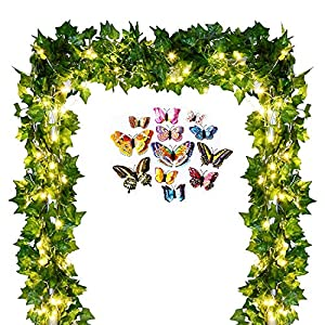 Artificial IVY Garland Fake Leaves - 84 ft 12 Strands Greenery Garland Fake Vines Plants Foliage with LED IVY Lights String and Colorful Butterfly for Wedding Backdrop Outdoor Home Kitchen Garden 53