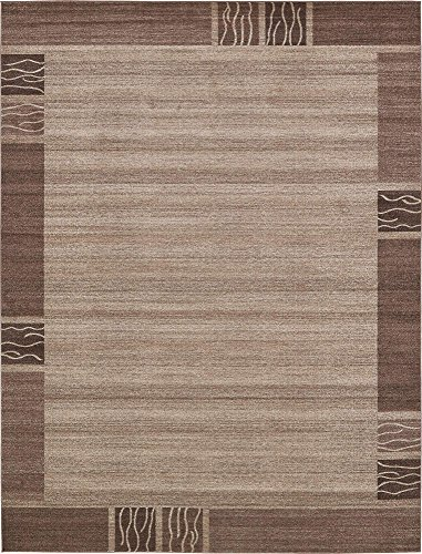 Unique Loom Del Mar Collection Contemporary Transitional Light Brown Area Rug (10' 0 x 13' 0)