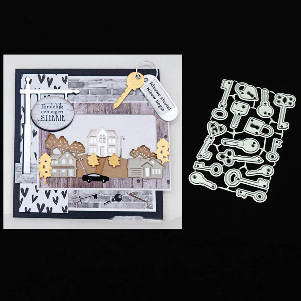 Silver yanQxIzbiu Cutting die Various Keys Embossing Cutting Dies Home DIY Handcrafts Card Scrapbook Decor