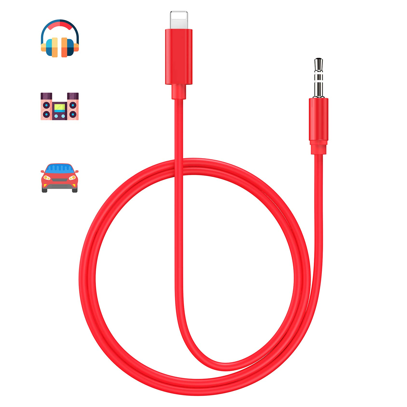 Aux Cord for iPhone 3.5mm Aux Cable for Car AUX Cable to 3.5mm Audio Cable Compatible with iPhone Xs/XS Max/X/8/8Plus/7/7Plus for Car Stereo/Speaker/Headphone and More Support All iOS System - Red by turelar