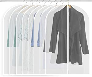 Rannymon Moth Proof Garment Bags,Garment Cover,Clear Garment Bags,Hanging Garment Bag, Dress Garment Bags for Storage Breathable Cover for Closet Clothes Storage-24'' x 40''/8 Pack