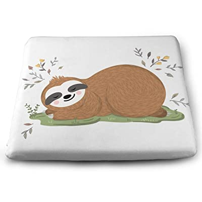 Sanghing Customized Cute Sloth Sleeping Grass Flowers 1.18 X 15 X 13.7 in Cushion, Suitable for Home Office Dining Chair Cushion, Indoor and Outdoor Cushion.: Home & Kitchen