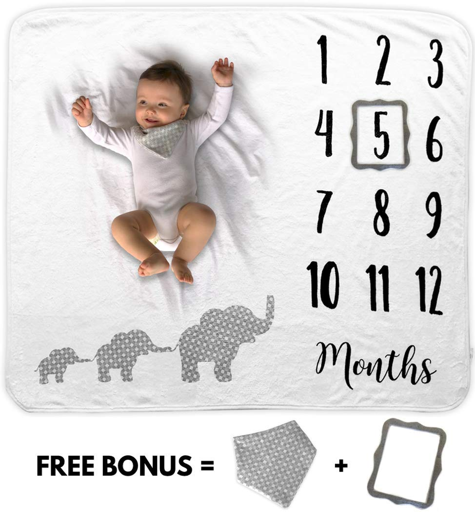 Baby Monthly Milestone Blanket | Includes Bib and Picture Frame | 1 to 12 Months | 100% Organic Fleece Extra Soft | Best Baby Shower Gift | Photography Backdrop Photo Prop for Newborn Boy & Girl by Novo Baby