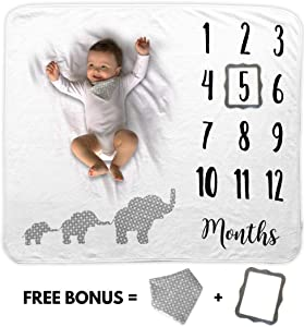 Baby Monthly Milestone Blanket | Includes Bib and Picture Frame | 1 to 12 Months | 100% Organic Fleece Extra Soft | Best Baby Shower Gift | Photography Backdrop Photo Prop for Newborn Boy & Girl