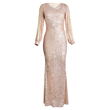 f37a1db57e7829 Elapsy Womens Elegant Sequined Tassel Long Sleeve Round Neck Fishtail  Mermaid Evening Bandage Dress Cocktail Gown