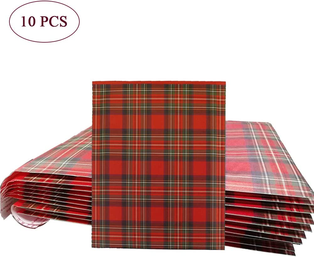Orgrimmar/10 PCS Poly Bubble Mailers 8.3x9.3 Inch Christmas Envelopes Shipping Bags with Self Seal Adhesive Waterproof and Tear-Proof Postal Bags-Red Plaid