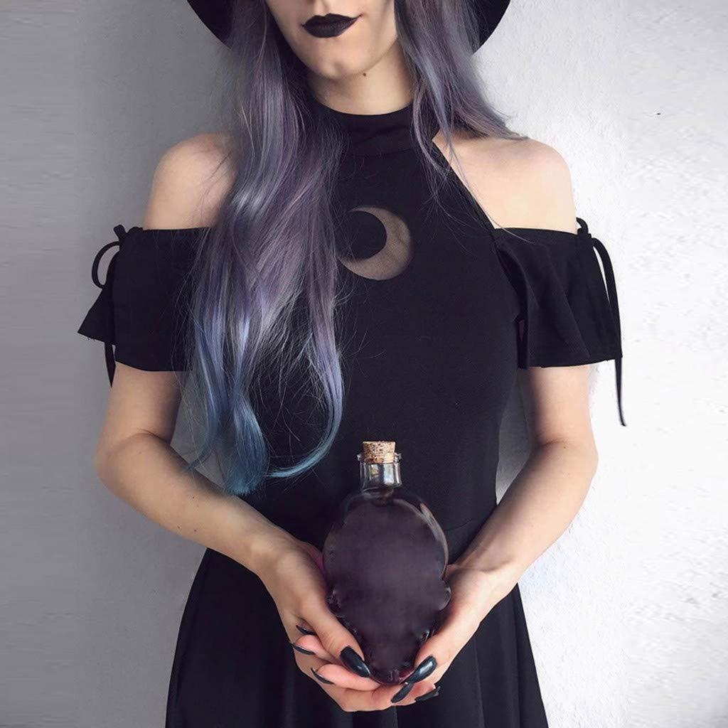 GNYD Vestidos Verano Mujer Largos Tallas Grandes Cortos Fiesta Casual,Fashion Gothic Style Punk Black Off Shoulder Moon Hollow out