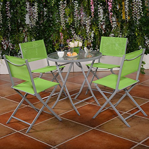 giantex 5 pcs bistro set garden 4 folding chairs table