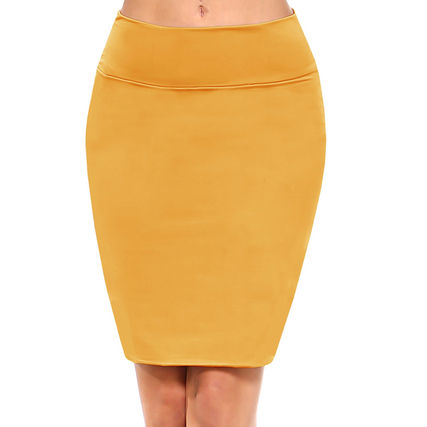 Fashionazzle Women's Casual Bodycon Solid and Print Stretchy Pencil Mid Skirt (Smalll, BMS02-Mustard)