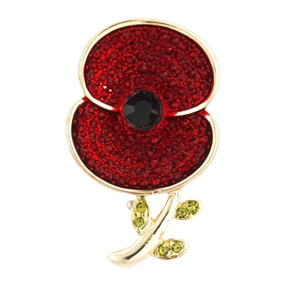 Poppy Brooch Vintage Remembrance Day Poppy Pin Badge Crystal Brooches for Women Love Dream LD-BC-01-0001