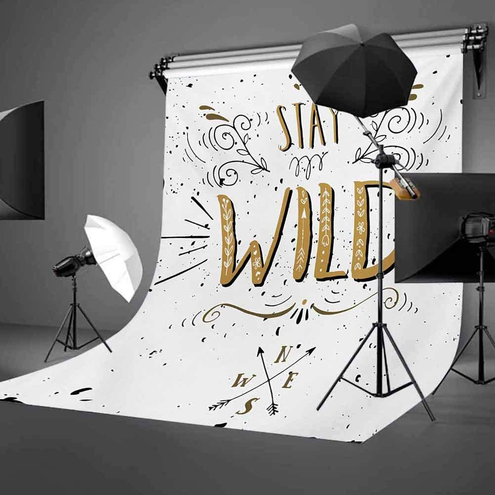Quote 10x15 FT Photo Backdrops,Stay Wild Saying with Grunge Swirls Curves and Arrows Hand Lettering Background for Baby Shower Bridal Wedding Studio Photography Pictures Pale Brown Black and White