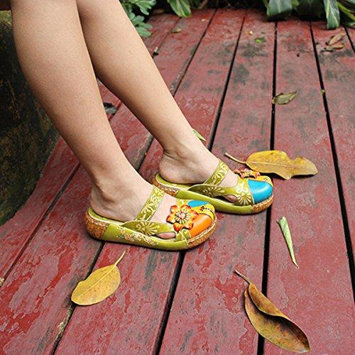 Gracosy Sandali Donna, Pantofola Estiva In Pelle Pantofola Vintage Zoccoli Backless Fiori Colorati Scarpe Morbide Comode 42