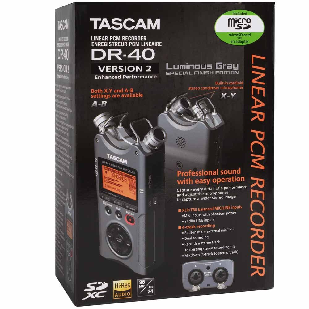 Tascam Dr 40 Silver 4 Track Portable Digital Cable Neutrik Xlr 1 4quot Combo Jacks And Phantom Power Sound Design Recorder Electronics