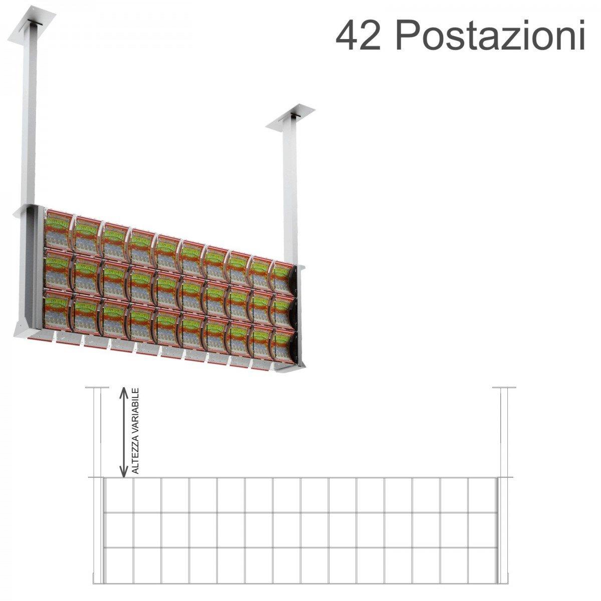 Espositore gratta e vinci da soffitto in plexiglass trasparente a 42 contenitori munito di sportellino frontale lato rivenditore