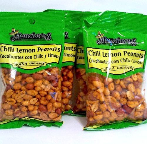 Muncheros Chili Lemon Peanuts 4.25 Ounce 4pack by Muncheros