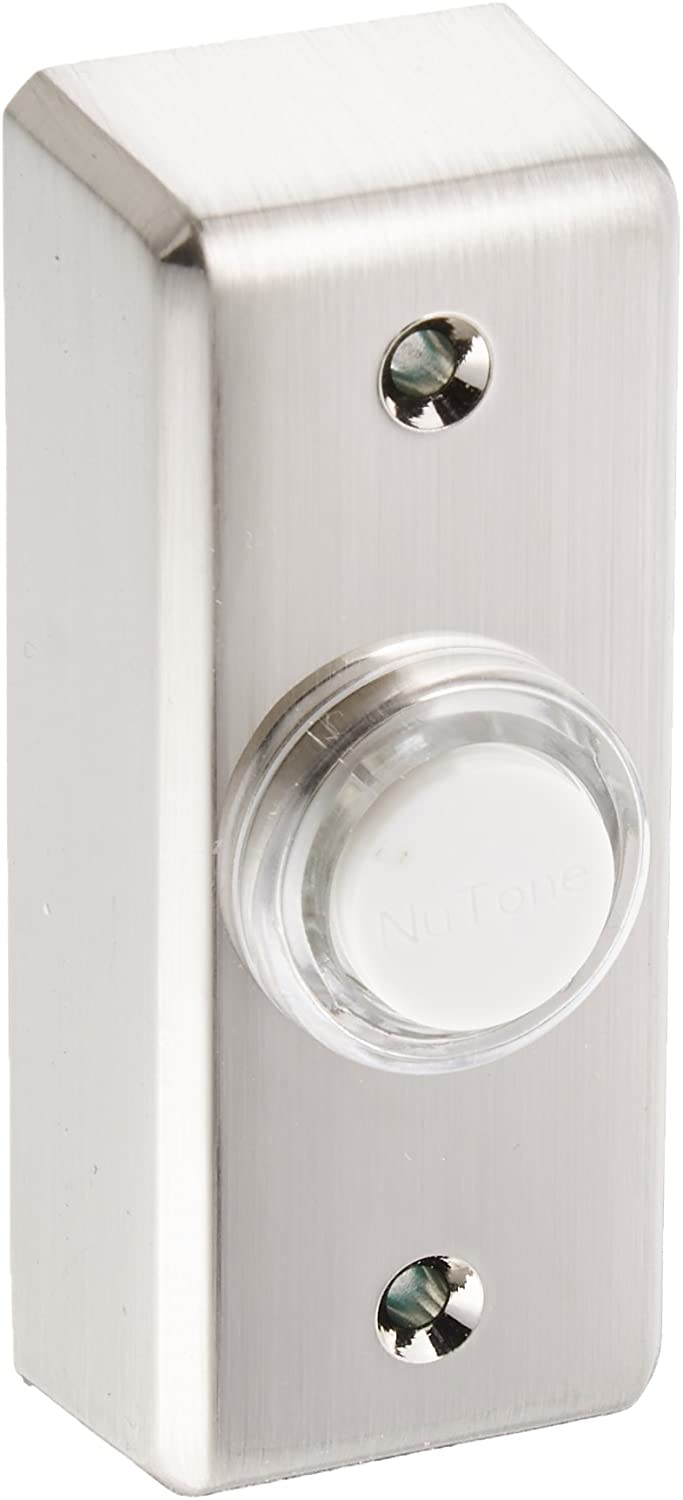 NuTone PB69LSN Wired Lighted Door Chime Push Button, Satin Nickel