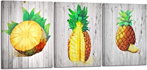 Kreative Arts Unique Canvas Wall Art Pineapple on Wood Style Background Modern Still Life Painting Colorful Pineapples Decor Tropical Fruit Art Home Decor Living Room Kitchen Artwork 12x16inx3pc