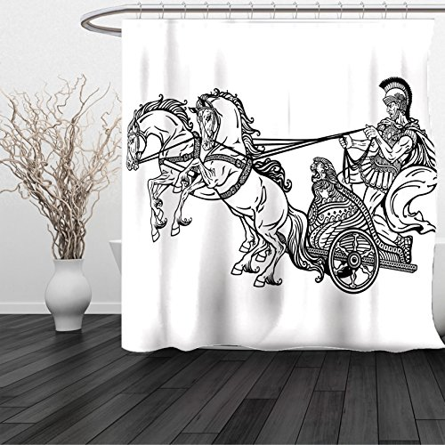 HAIXIA Shower Curtain Toga Party Roman Warrior in a Chariot Pulled by Two Horses Historic Carriage Monochrome Black White
