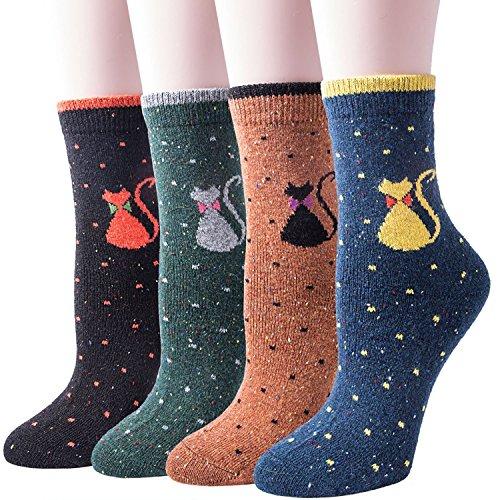 (3-5 Pairs) Womens Winter Warm Soft Thick Wool Knit Cat Casual Crew Socks