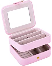 Autoark Leather Small Jewelry Box Portable Travel Case Organizer Built-in Mirror,Makeup Accessories Storage Organizer Case,Gift Girls & Women