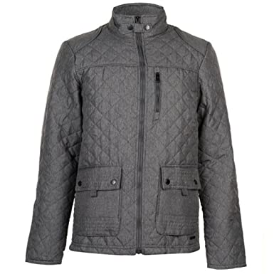 Pierre Cardin Mens Diamond Quilted Jacket with Herringbone Tape Detail (Large, Charcoal)