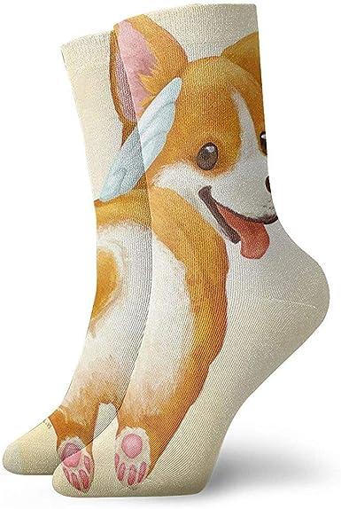 Wa-shop Pack de calcetines de vestir para hombre Smile Corgi Puppy Butt Love Heart Divertidos calcetines de poliéster: Amazon.es: Ropa y accesorios