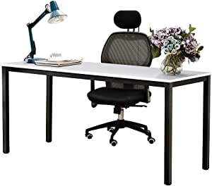 Need Computer Desk 63 inches Large Size Desk Writing Desk with BIFMA Certification Workstation Office Desk, White Black AC3DB-160