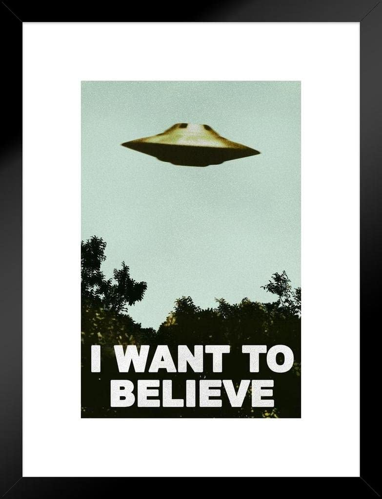I Want to Believe Poster UFO Artwork Alien TV Retro 90s Poster Wall Decor Movie Poster The Truth is Out There I Believe Poster All Seasons Horror Movie Matted Framed Art Wall Decor 20x26