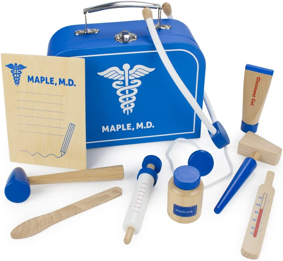 Doctor Kit for Kids Playset (10 pcs)   Dr. Maple's Wooden Wonders Pretend Play Wood Toy Doctor Kit   Doctor, Nurse & Vet Play Medical Bag for Toddlers   Includes Medicine, Ointment, Tools & Med Chart
