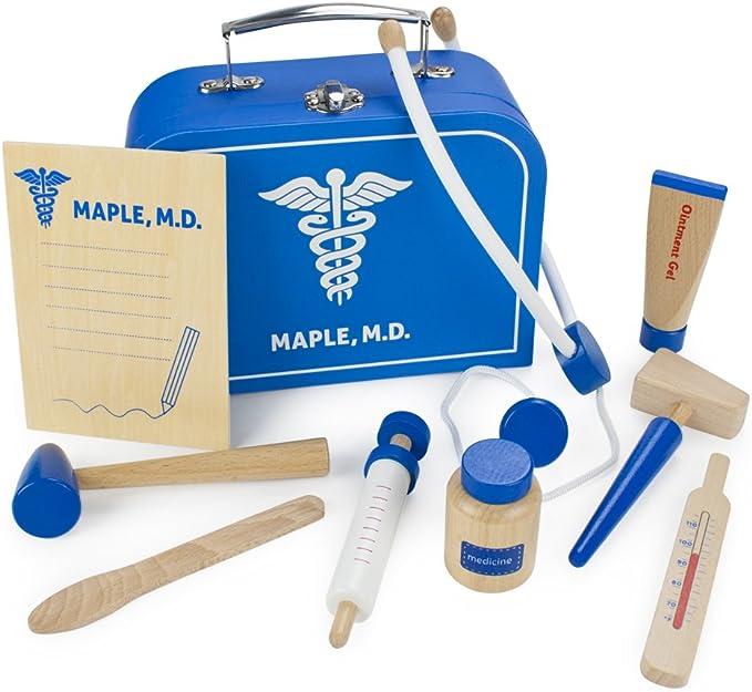 Doctor Pretend Play Toys for Children Boys Girls Age 3+ 34 pcs Wooden Doctors Kit Medical Case Dentist Medical Kit Foxom Doctor Toy Set