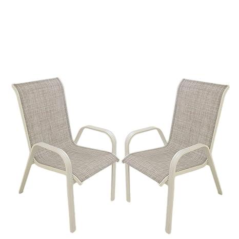 Edenjardi Pack 2 sillones de terraza apilable | Tamaño ...
