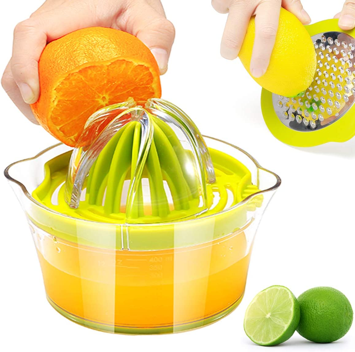 RIVTUN Lemon Orange Manual Juicer with Built-in Measuring Cup and Grater Anti-Slip Reamer Extraction Egg Separator,12OZ, Green