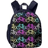 Tiled Neon Bike Vector Printed Kids Backpack Toddler School Bags For Kindergarten