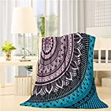 SUN-Shine Super Soft Lightweight Throw Blankets Cozy Warm Microfiber Blanket for Bed Couch Chair Camping Travel All Seasons Daily Use Living Room Bedroom,Hippie Mandala Art Meditation Flowers