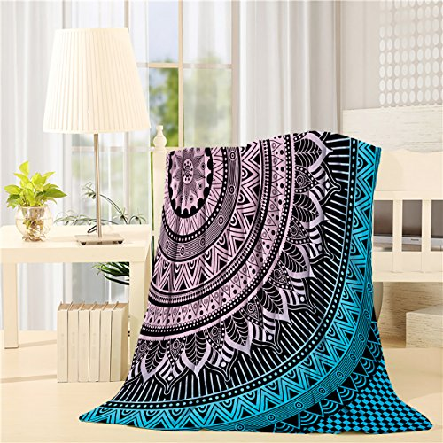 SUN-Shine Super Soft Lightweight Throw Blankets Cozy Warm Microfiber Blanket for Bed Couch Chair Camping Travel All Seasons Daily Use Living Room Bedroom,Hippie Mandala Art Meditation Flowers by SUN-Shine
