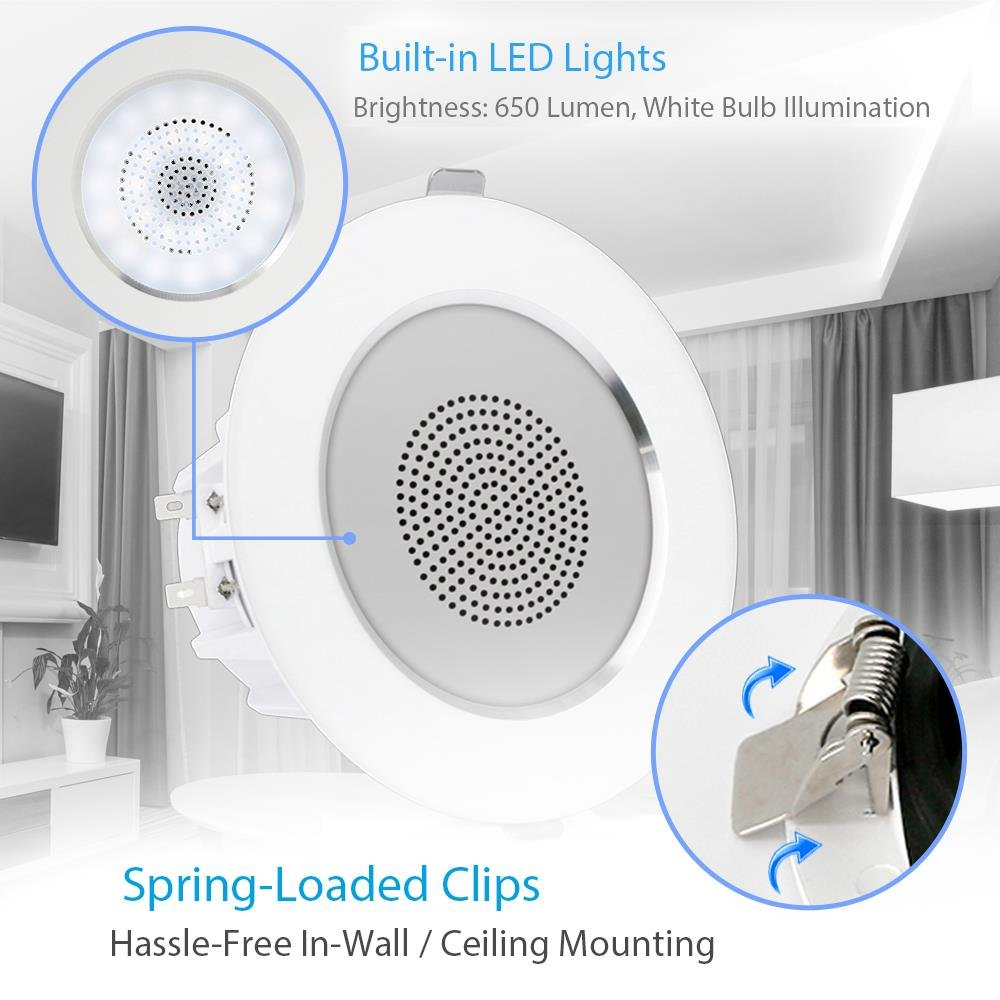 35 Ceiling Wall Mount Speakers 2 Way Full Range Wiring 4 Sound Stereo Speaker Flush Design W Bluetooth Led Light Aluminum Frame Housing 60hz 20khz