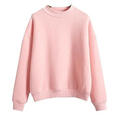 Teen Girls Korean Solid Pink Candy Pastel Autumn Pullover Hoodies ...