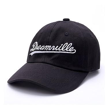 c00a04bb7dfec Amkun Dreamville J Cole Brim Baseball Cap Embroidered Hat (Black)   Amazon.co.uk  Clothing