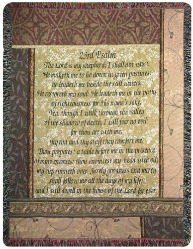 Manual Inspirational Collection 50 x 60-Inch Tapestry Throw, My Shepherd 23rd Psalm, ()