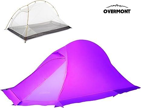 Overmont Tienda de campaña ligera profesional impermeable, 1-2 personas, 4 temporadas, 215*130*105cm, con faldón de nieve, PU6000MM para camping picnic senderismo naranja/violeta: Amazon.es: Electrónica