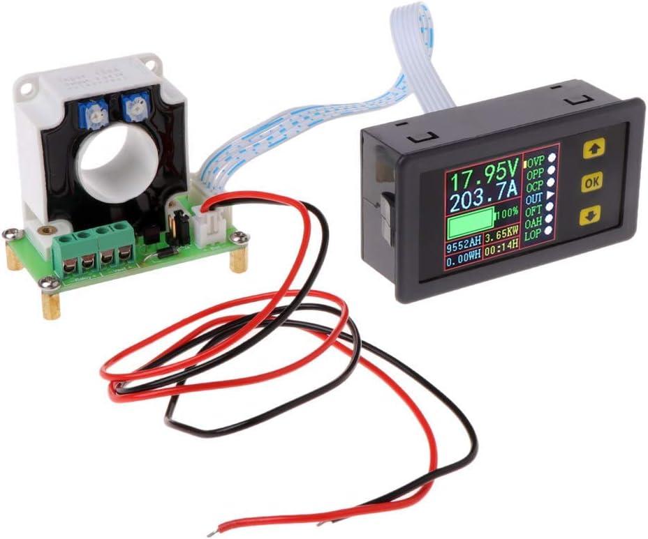 DollaTek Multímetro de DC Digital 0-90V 100A Voltímetro Amperímetro Amperaje de Corriente Potencia en vatios Capacidad Medidor de Tiempo Probador de batería Monitor con Pantalla LCD Sensor