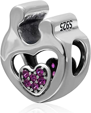ABUN Rose Gold Family is Forever Charms 925 Sterling Silver Heart Dangle Charms with Clear Stone Fits European Bracelet