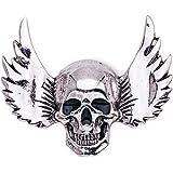 S&E Men's Halloween Skull Lapel Stick Pin Brooch Carved Pewter Vest Jacket Festival Gifts