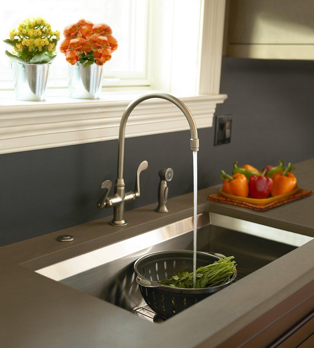KOHLER K-8763-CP Essex Kitchen Sink Faucet, Polished Chrome - Touch ...