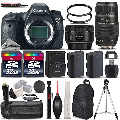 Canon EOS 6D DSLR Camera + Canon EF 50mm 1.8 II Lens + Tamron 70-300mm Lens + 2 Of 32GB Memory Card + Backup Battery + Battery Grip. All Original Accessories Included – International Version