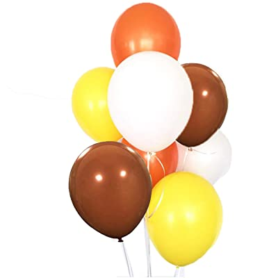 60 Pack Orange Yellow Brown White Balloon Arch Garland Fall Autumn Birthday Wedding Backdrop Harvest Thanksgiving Party Centerpieces Nursery Decoration: Toys & Games